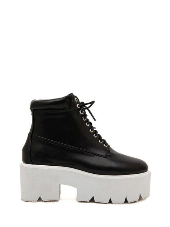 Women'S Solid Color And Lace Up Platform Shoes