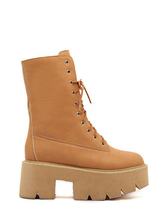 latest Simple Style Women's Short Boots With Platform and Lace-Up Design - BROWN 35