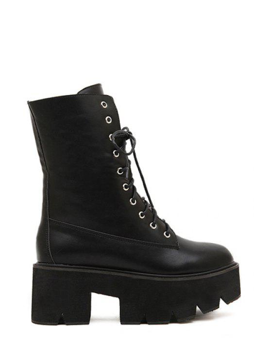 womens Simple Style Women's Short Boots With Platform and Lace-Up Design - BLACK 39