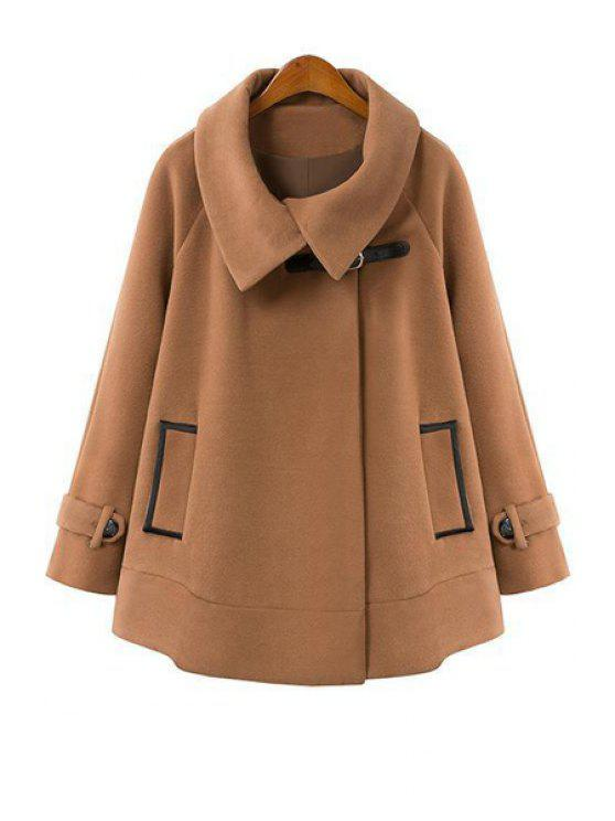 new Cape-Style Long Sleeve Worsted Coat - CAMEL S