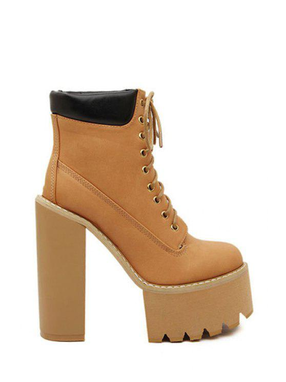lady Chunky Heel Platform Ankle Boots For Women - BROWN 34