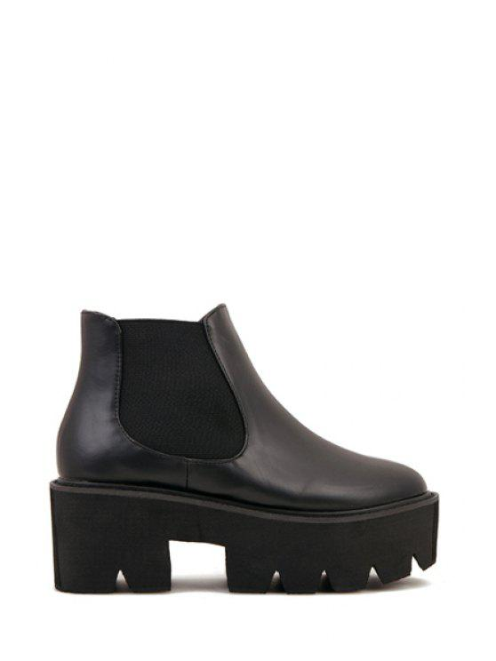 chic Elastic Chunky Platform Heel Ankle Boots - BLACK 35