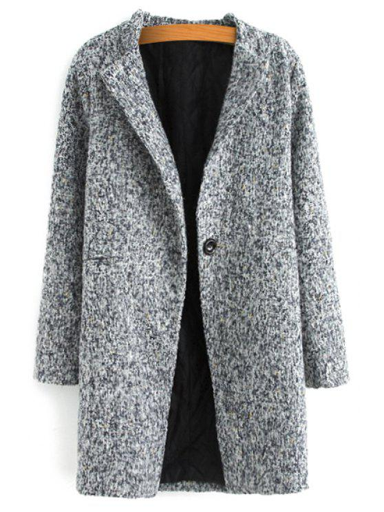 sale Color Mixed Long Sleeve Worsted Coat - GRAY M