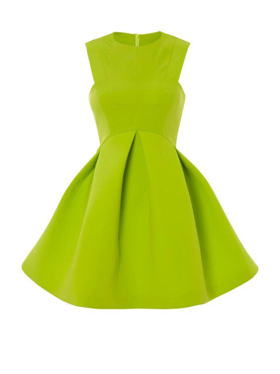 hot Solid Color A-Line Sundress - GREEN S