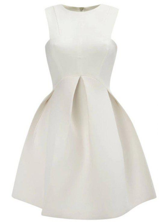 chic Solid Color A-Line Sundress - WHITE L