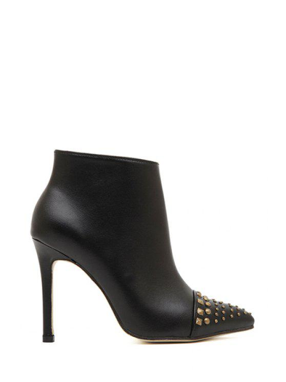 lady Sexy High Heel Rivets Black Ankle Boots - BLACK 35