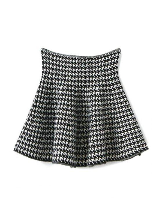 shop Houndstooth Flouncing Knit Skirt - WHITE AND BLACK ONE SIZE(FIT SIZE XS TO M)