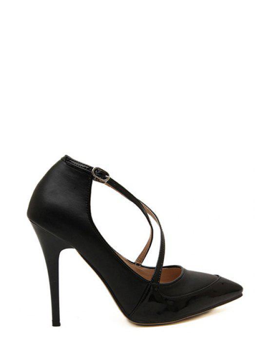 hot Black Stiletto Heel Pointed Toe Pumps - BLACK 35