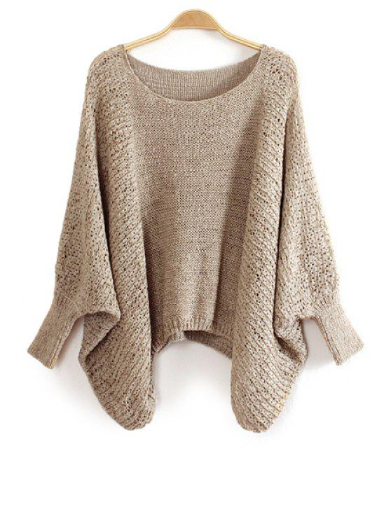 online Solid Color Bat-Wing Sleeve Sweater - KHAKI ONE SIZE(FIT SIZE XS TO M)