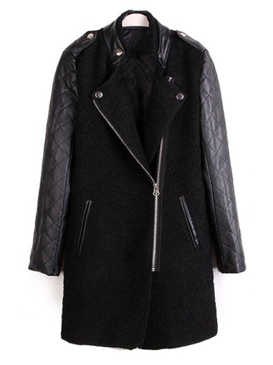 sale Faux Leather Splicing Long Sleeve Coat - BLACK S