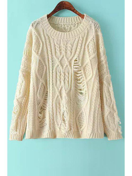 ladies Broken Hole Long Sleeve Sweater - OFF-WHITE ONE SIZE(FIT SIZE XS TO M)