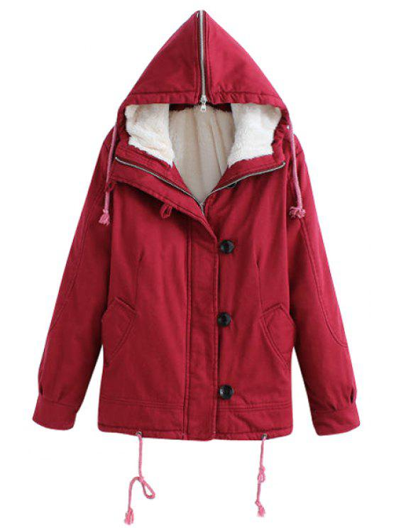 women's Red Hooded Long Sleeve Coat - RED S