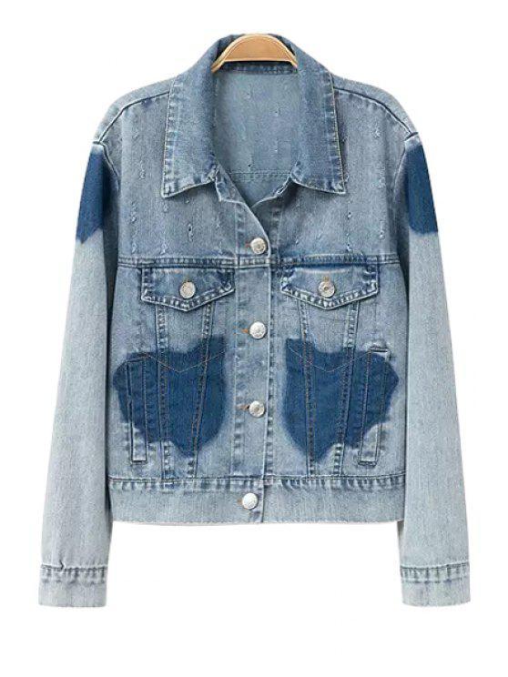 outfit Color Block Long Sleeve Denim Jacket - LIGHT BLUE S