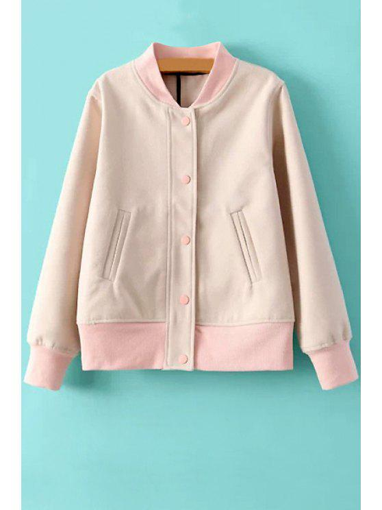 shops Pink Long Sleeve Stand Collar Jacket - PINK S