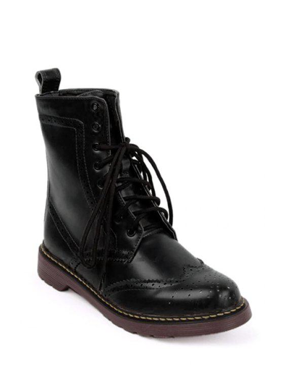 womens Engraving Hollow Out Lace-Up Boots - BLACK 38