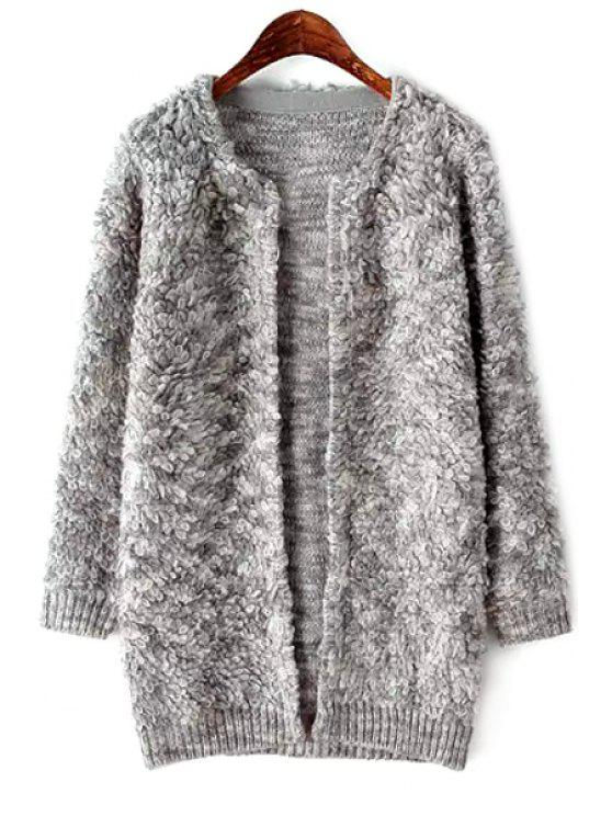 trendy Color Mixed Long Sleeve Cardigan - GRAY ONE SIZE(FIT SIZE XS TO M)