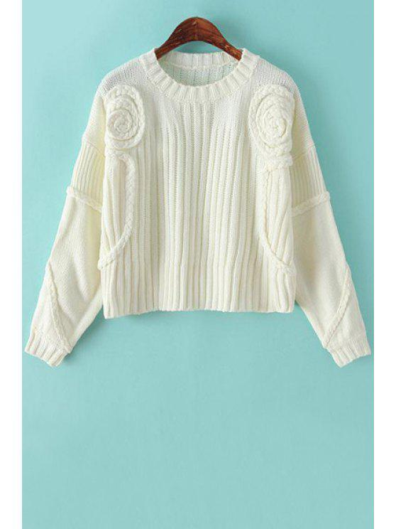 chic Solid Color Cable-Knit Sweater - WHITE ONE SIZE(FIT SIZE XS TO M)