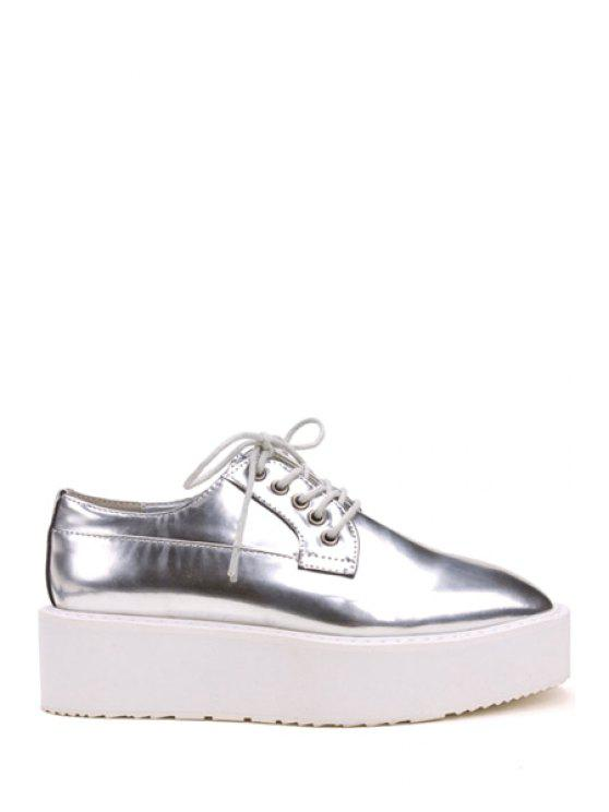 women Patent Leather Square Toe Platform Shoes - SILVER 35