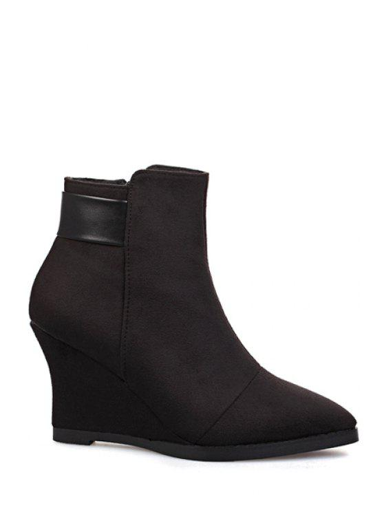 unique Wedge Heel Pointed Toe Ankle Boots - BLACK 34