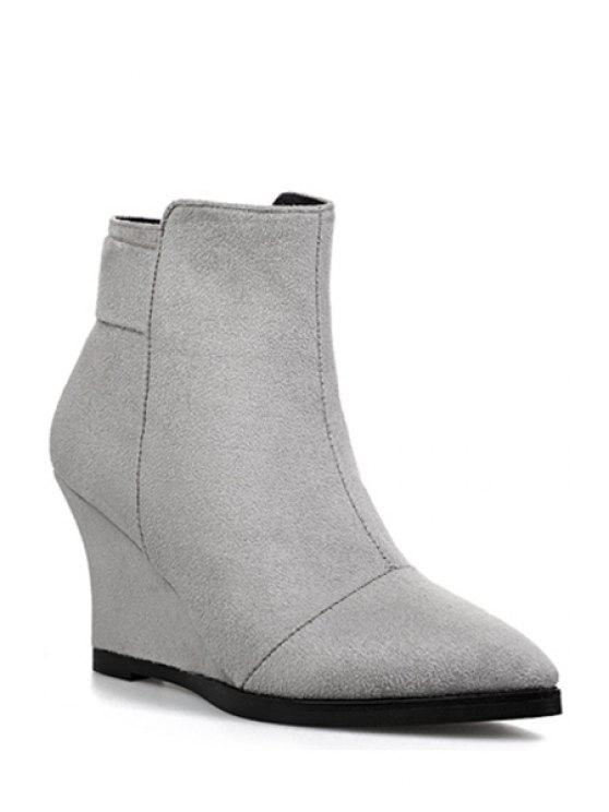 buy Wedge Heel Pointed Toe Ankle Boots - LIGHT GRAY 39