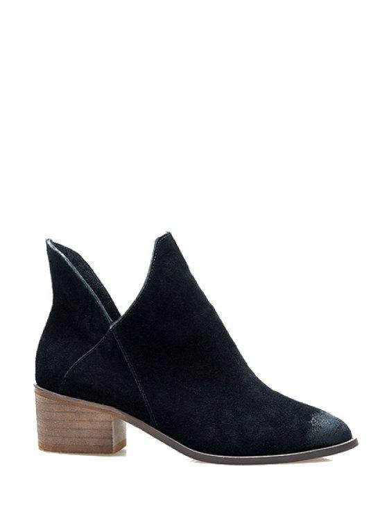 women Suede Pointed Toe Solid Color Boots - BLACK 38