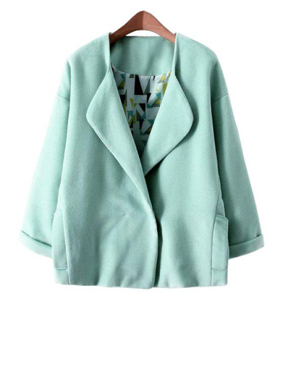 shops Solid Color Turn-Down Collar Coat - GREEN S