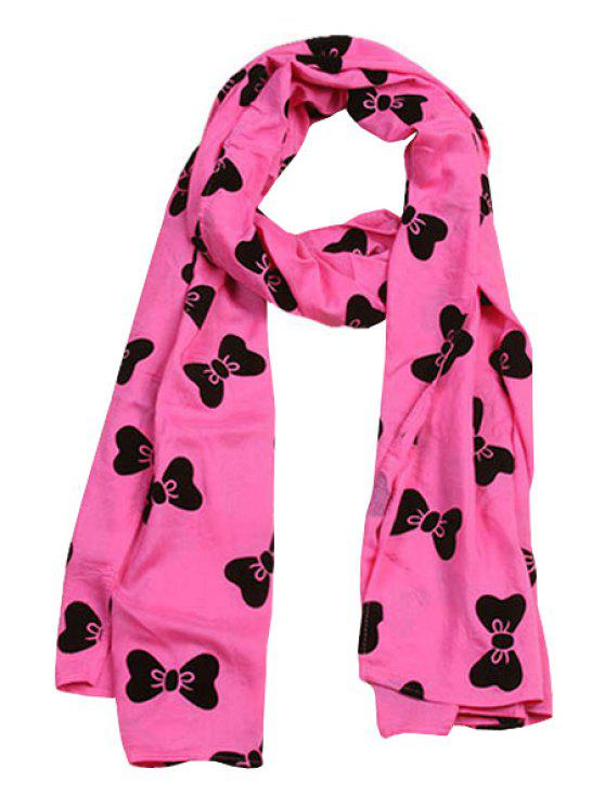 outfits Bowknot Print Scarf - ROSE MADDER