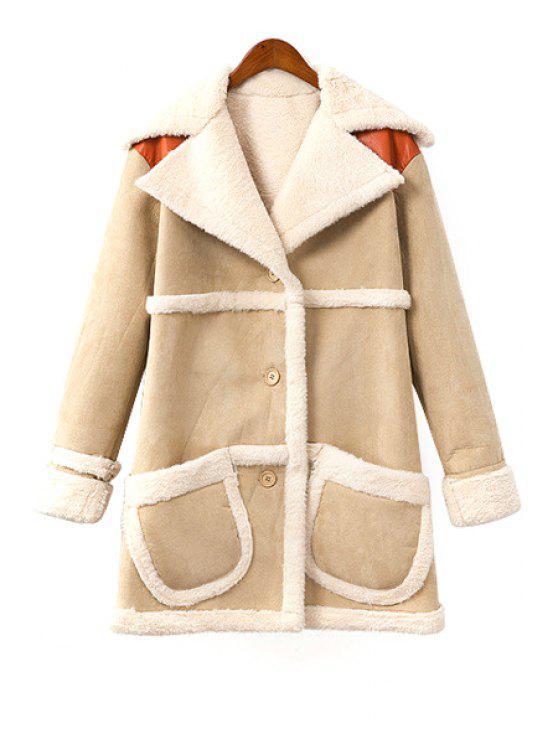 womens PU Leather and Faux Fur Splicing Coat - LIGHT KHAKI S