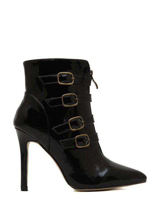 latest Patent Leather Buckle Stiletto Heel Boots - BLACK 39
