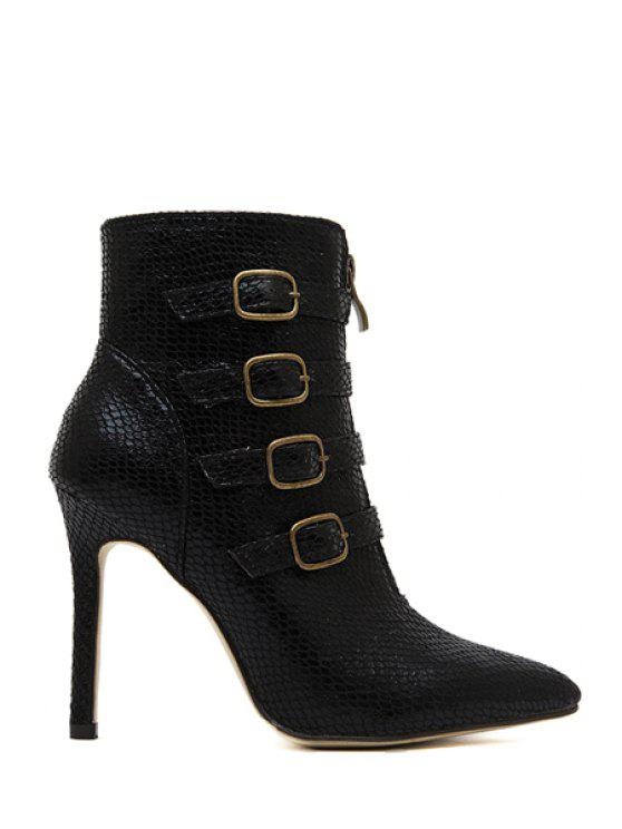 trendy Snake Print Buckle Stiletto Heel Boots - BLACK 35