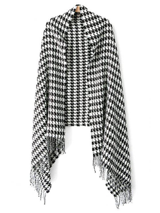 fancy Houndstooth Pattern Tassels Pashmina - WHITE AND BLACK
