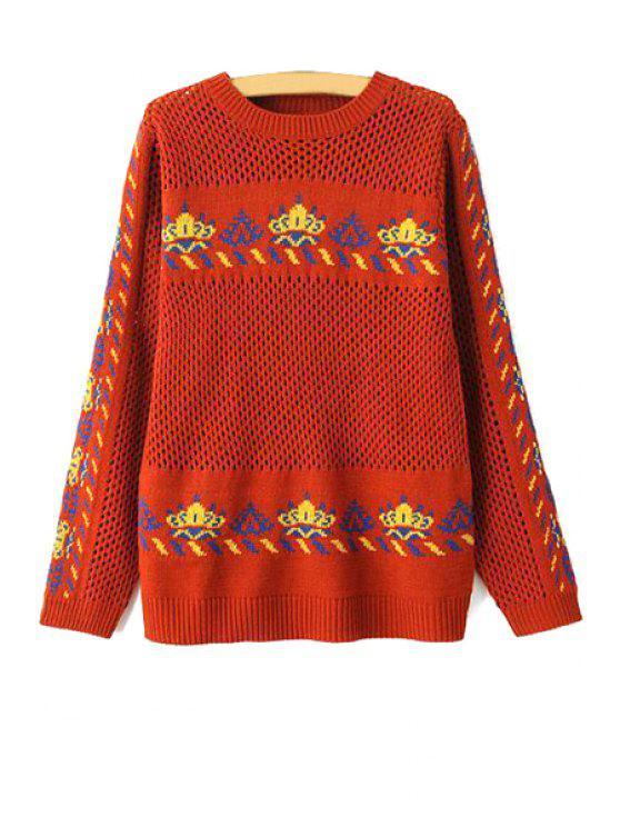 chic Crown Long Sleeve Hollow Out Sweater - DARK RED M
