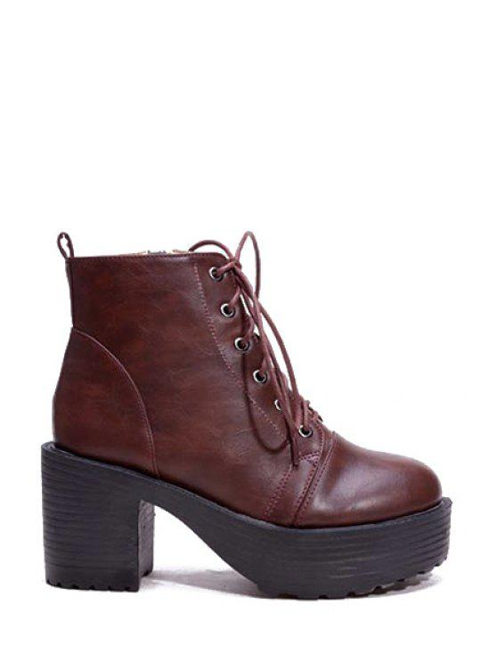 women Platform Chunky Heel Lace-Up Ankle Boots - BROWN 39