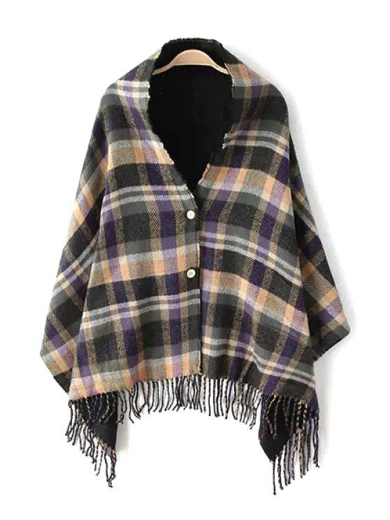 unique Buttons Plaid Tassels Two-Sided Pashmina - BLACK