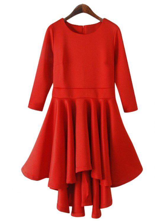 outfit Solid Color 3/4 Sleeve Flouncing Dress - RED M