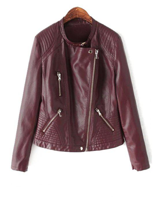 womens PU Leather Stand Collar Zipper Jacket - RED S