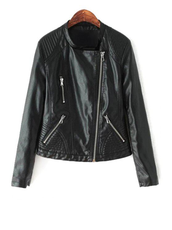lady PU Leather Stand Collar Zipper Jacket - BLACK M