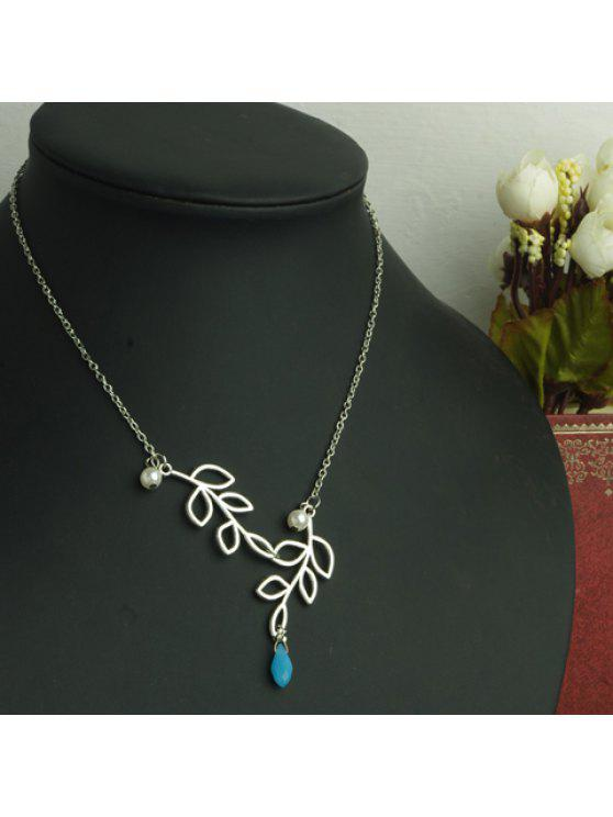 buy Attractive Solid Color Leaf Shape Openwork Pendant Women's Necklace - AS THE PICTURE