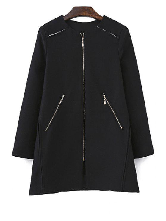 unique Black Long Sleeve Zipper Coat - BLACK S
