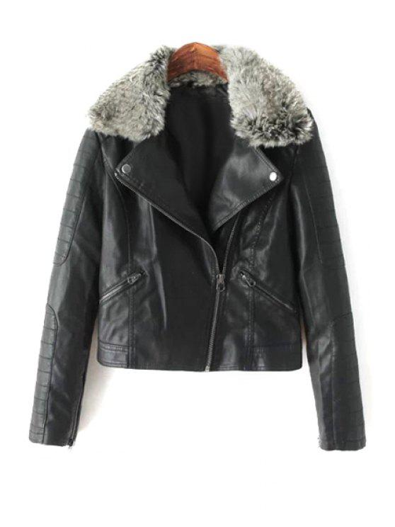 online PU Leather Faux Fur Lapel Jacket - BLACK S