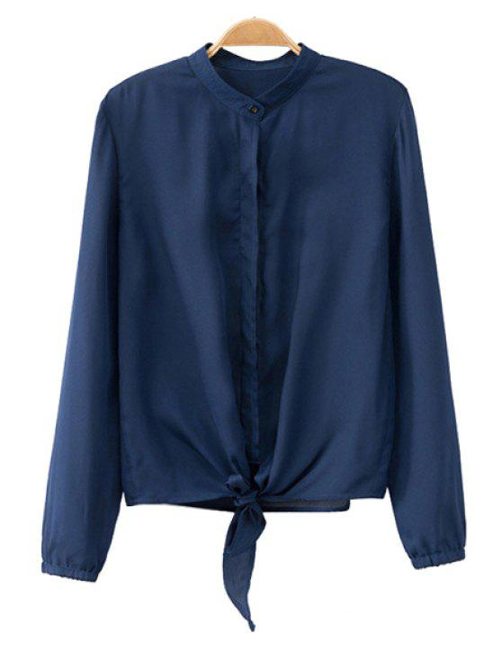 womens Solid Color Stand Collar Blouse - CADETBLUE S