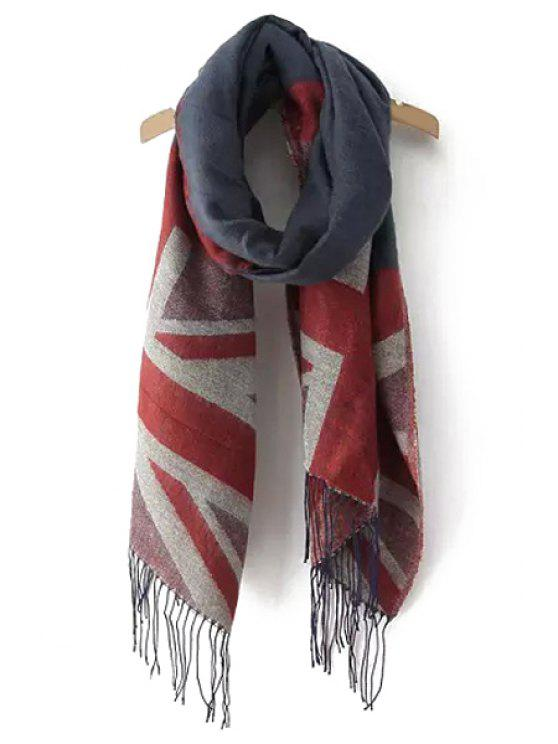 shops Union Jack Pattern Tassels Pashmina - COLOR ASSORTED