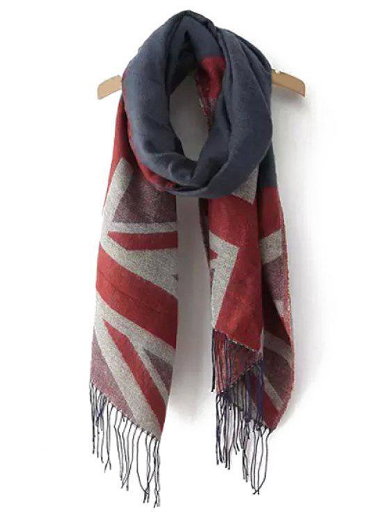 shops Union Jack Pattern Tassels Pashmina - COLOR ASSORTED