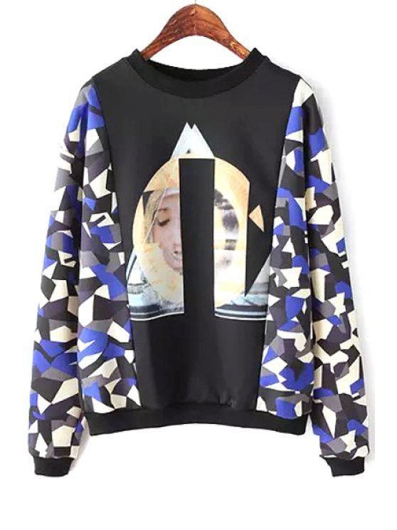 buy Print Splicing Long Sleeve Sweatshirt - BLACK S