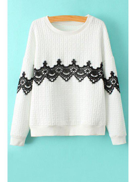 women's Lace Splicing Scoop Collar Sweatshirt - WHITE S