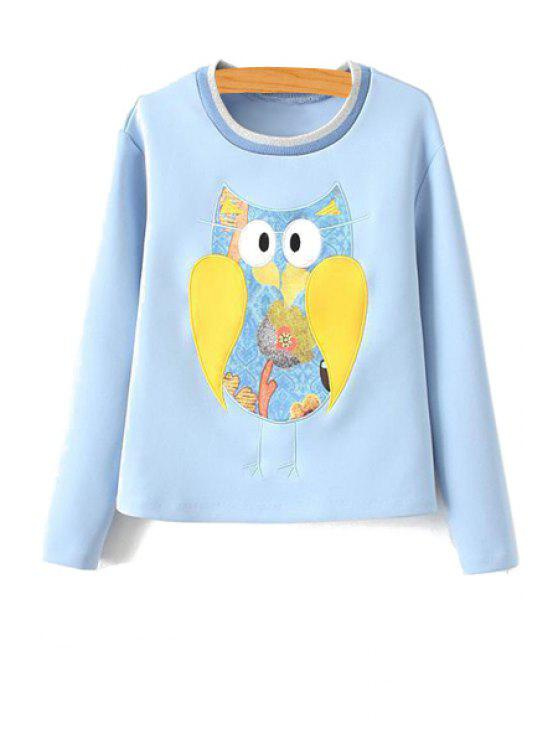 best Owl Pattern Long Sleeve Sweatshirt - ICE BLUE S