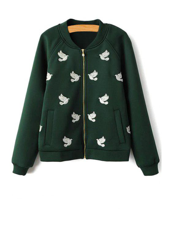 latest Embroidery Long Sleeve Jacket - GREEN S