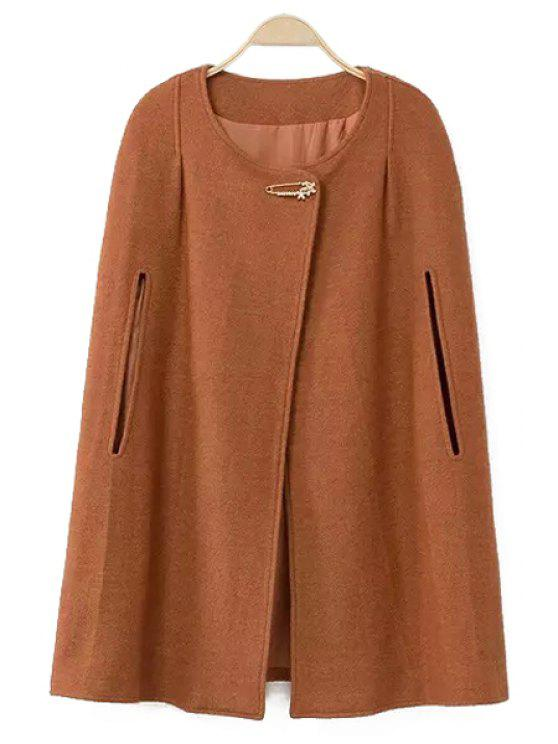 womens Solid Color Cape-Style Coat - AMBER S