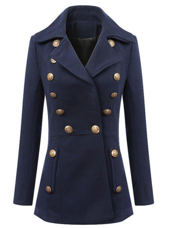 trendy Fashionable Lapel Solid Color Buttons Long Sleeve Coat For Women - PURPLISH BLUE XL