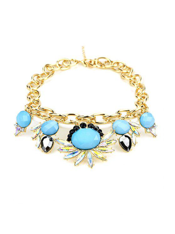 outfit Colorful Faux Gem Decorated Floral Pattern Pendant Necklace - TURQUOISE